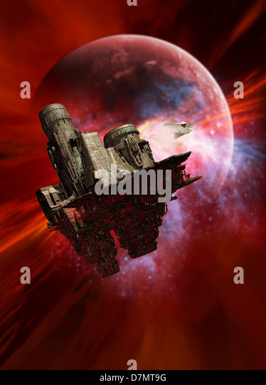 Space mining colony, artwork - Stock Image
