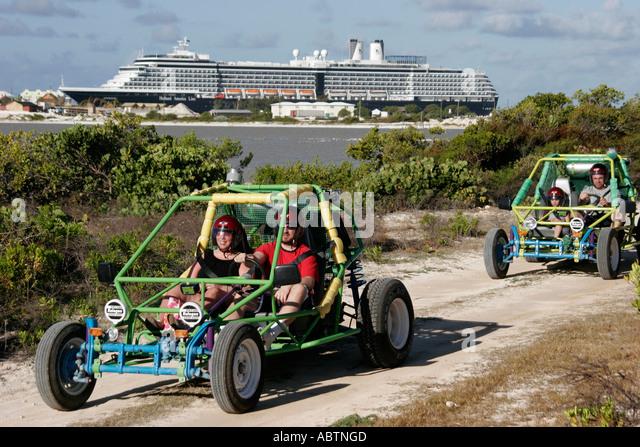 Grand Turk Hawksnest Plantation dune buggy tour vehicle Holland America Line ms Noordam - Stock Image