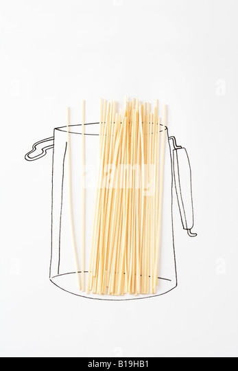 Real pasta on drawing of canister - Stock-Bilder