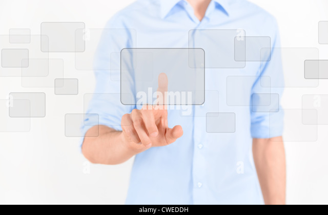 Man touching blank virtual screen. Isolated on white. - Stock Image