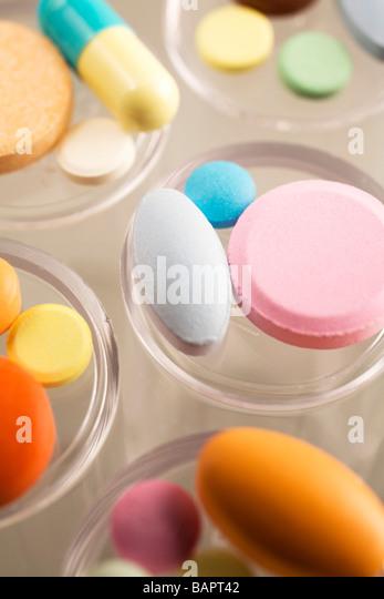 Pills; Assorted pills - Stock Image