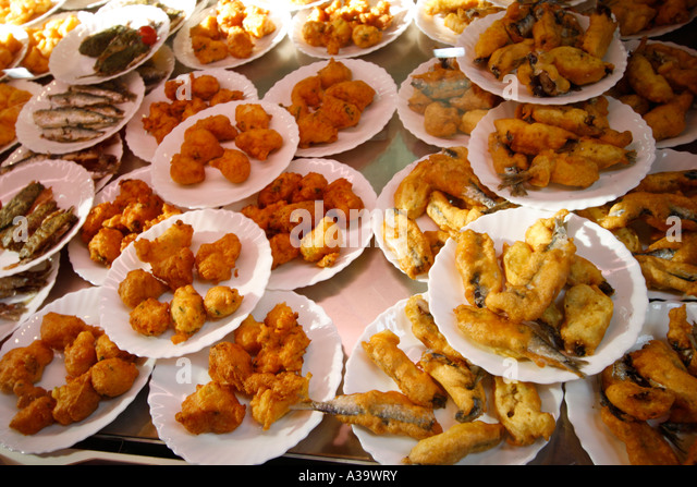 France old city cnter food stall with specialities from Nice - Stock Image