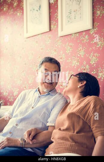 Bonding Casual Cheerful Couple Relationship - Stock Image
