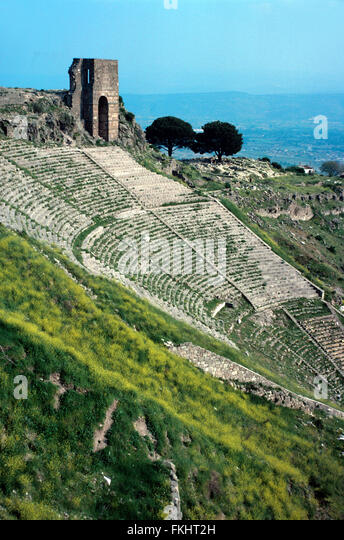 Antique Greek Theater or Theater Pergamon or Pergamum, Bergama, Turkey - Stock Image