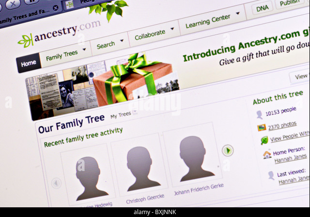 Family tree and genealogy information on Ancestry.com - Stock-Bilder
