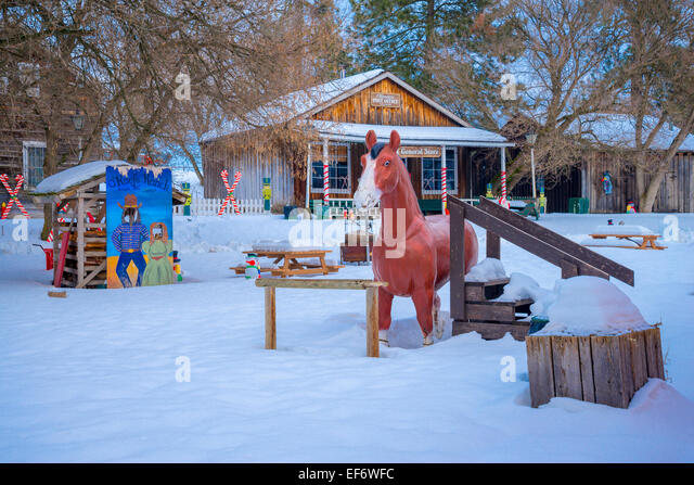 General Store in winter, the  Historic O'Keefe Ranch, Vernon, British Columbia, Canada - Stock Image