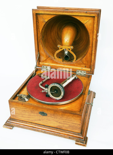 Pathe Saphone Gramophone Elf phonograph Vintage Antique 1910 is a French gramophone using a saphire stylus - Stock Image