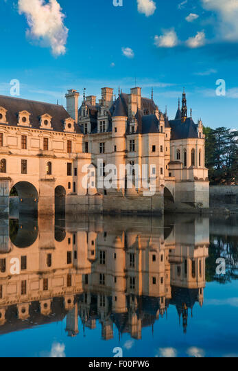 First light of morning on Chateau de Chenonceau, Indre-et-Loire, Centre, France - Stock Image