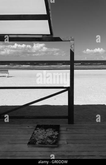 Lines wooden terraces on the beach of the Baltic Sea in September - Stock Image