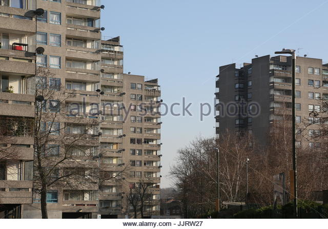 View of concrete flats in Thamesmead - Stock Image