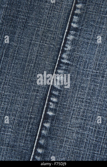 Blue denim fabric with stitch - Stock Image