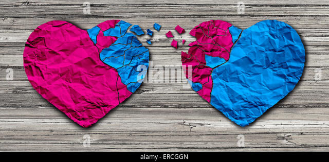 Romantic relationship concept as two hearts made of torn crumpled paper on weathered wood as a symbol for romance - Stock-Bilder