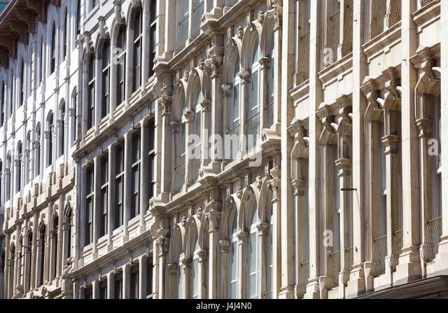 Cast iron facades in Vieux-Montréal, Montreal, Quebec, Canada - Stock Image
