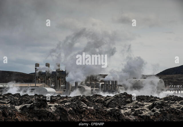 Geothermal power plant in Iceland - Stock Image