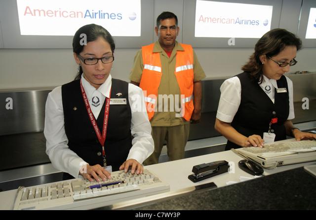 Managua Nicaragua Augusto C. Sandino Aeropuerto Internacional International Airport MGA aviation American Airlines - Stock Image