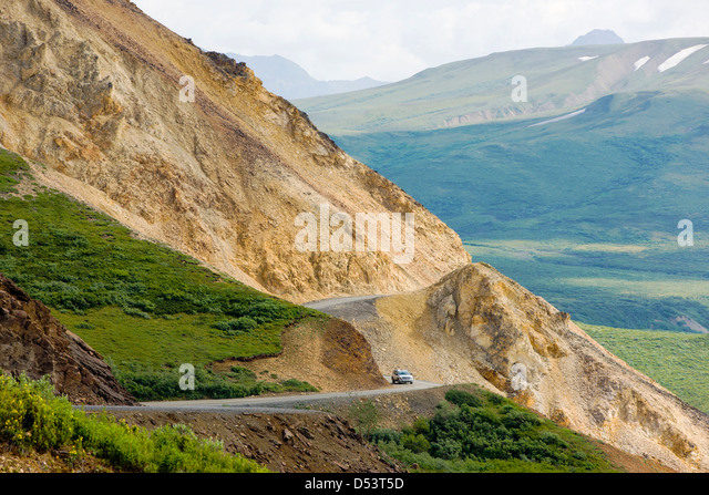 Polychrome Pass, Denali Park Road, Denali National Park, Alaska, USA - Stock Image