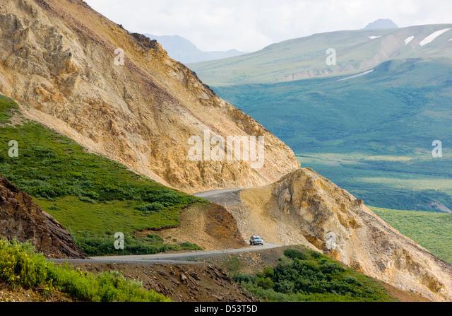 Polychrome Pass, Denali Park Road, Denali National Park, Alaska, USA - Stock Image