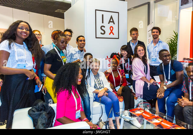 Paris, France, Group Portrait, Young Ambassadors to International AIDS Society I.A.S. Conference, 2017 - Stock Image
