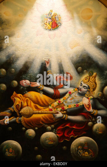 Painting in the London ISKCON Hindu temple of Mahavishnu, London, England, United Kingdom, Europe - Stock Image