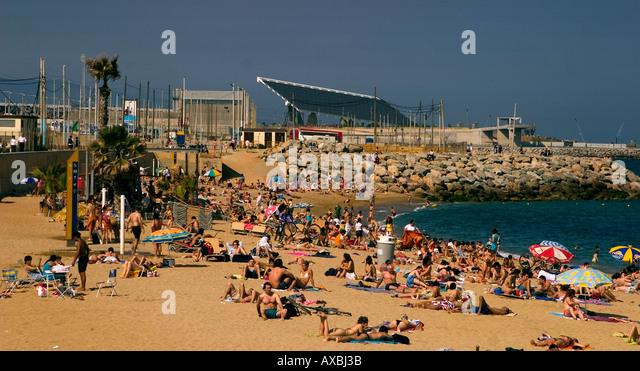 ESP Spain Barcelona beach Platja de la Barceloneta Forum - Stock Image