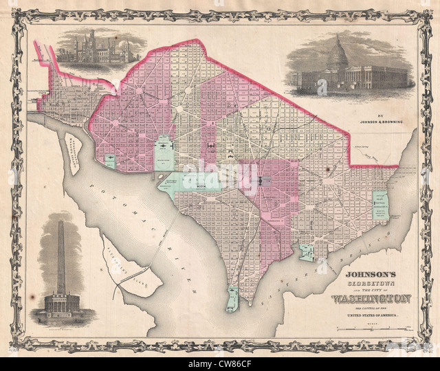 1861 Johnson Map of Washington D.C. and Georgetown - Stock Image