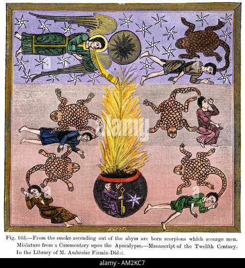 Scorpions ascending in the smoke from Hell to scourge men a 12th century miniature - Stock Image