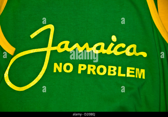 Jamaica No Problem Jamaican national slogan t-shirt Ocho Rios Jamaica - Stock Image