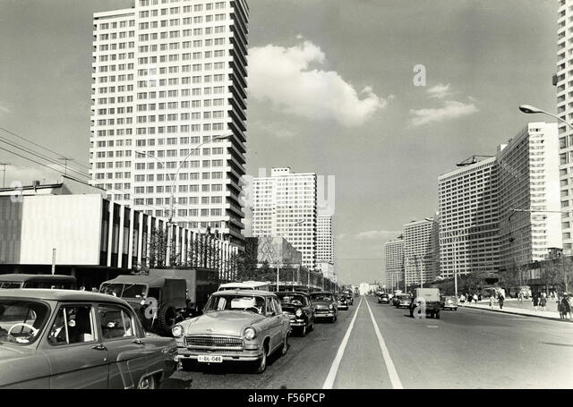 Traffic on Kalinin Prospekt, Moscow, Russia - Stock Image