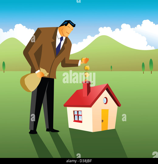 Businessman putting money in to model home - Stock Image
