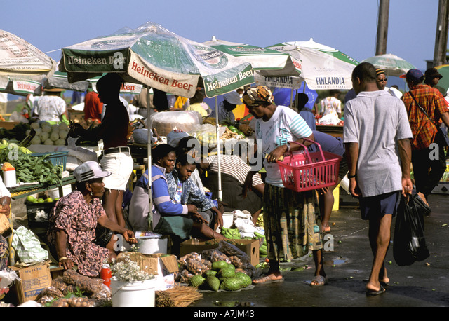 Dominica West Indies Caribbean Roseau Saturday Market Fruits Vegetables - Stock Image