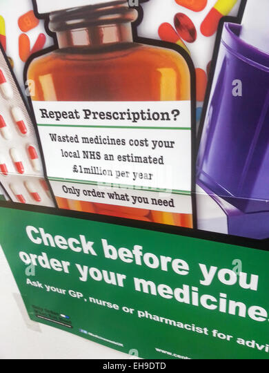 NHS Health campaign to promote mindfulness when ordering repeat prescriptions - Stock Image