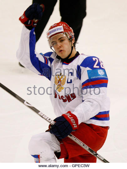 Russia's Nikita Filatov celebrates his goal against Finland during the second period of play at the 2010 IIHF - Stock Image