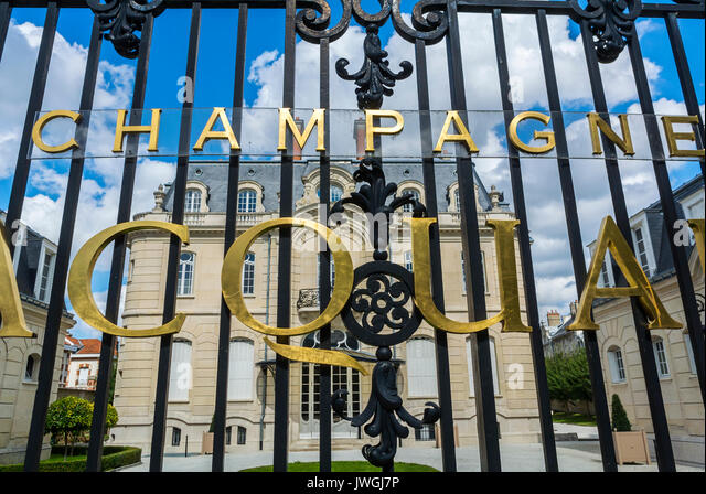 Reims, France, Outside Front fence with sign, French Champagne Company, Jacquart - Stock Image