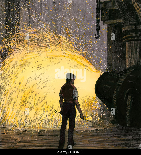 Steel-mill worker overseeing a Bessemer steel converter, 1800s. - Stock Image