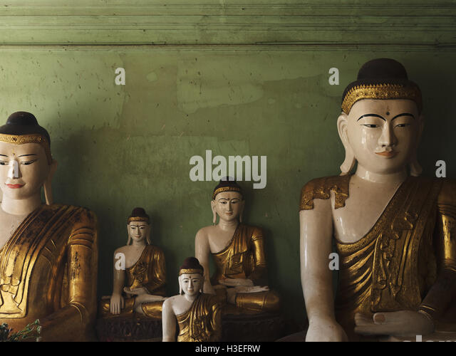 Buddhist statues in Bagan Villages, Myanmar (Burma) - Stock Image