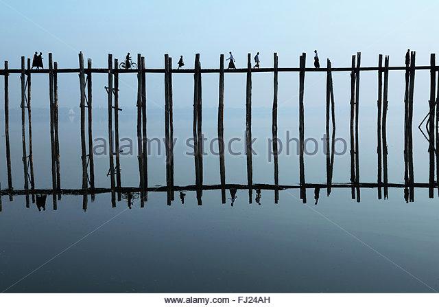 Ubein bridge by sunrise, Amarapura, Myanmar - Stock Image