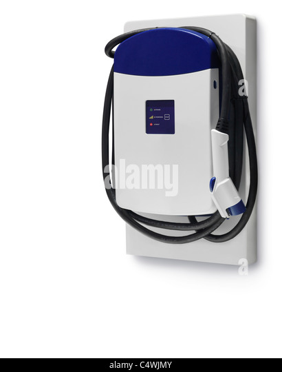 Electric car charging station isolated on white background with clipping path - Stock Image