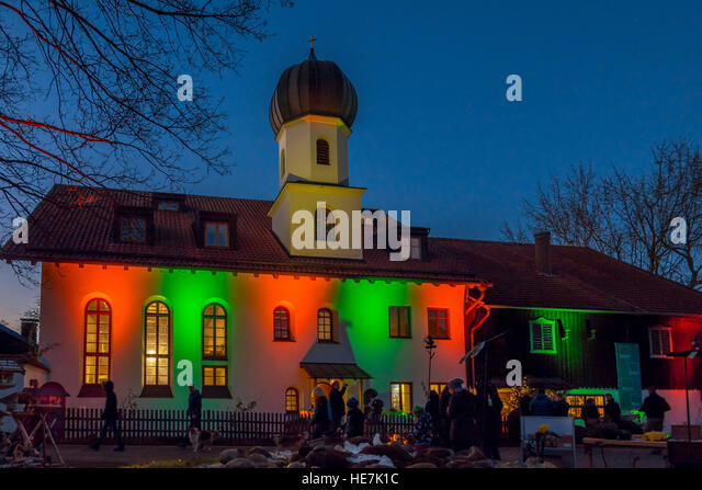 Christmas Market at Gut Dietlhofen, Peter Maffay Foundation, Bavaria, Germany - Stock Image