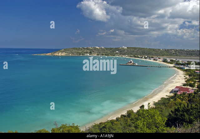 Anguilla beach above aerial of Sandy Ground overview water sea hills beach - Stock Image