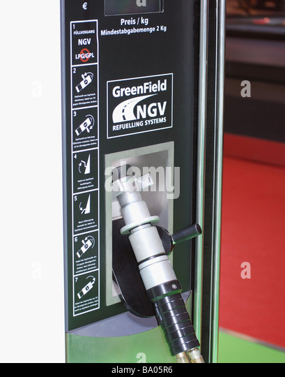 Refuelling equipment for zero emission, alternative fuel hybrid car - Stock Image