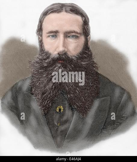 Leopold II of Belgium (1835-1909). King of the Belgians. Engraving. Colored. - Stock-Bilder