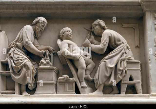 Orsanmichele wall carvings, Guild of Masons,  Florence Italy Europe - Stock Image