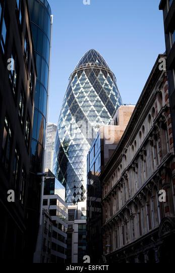 City Skyline with the Gherkin Building, London, England, UK - Stock Image