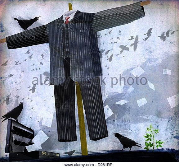 Businessman scarecrow - Stock-Bilder