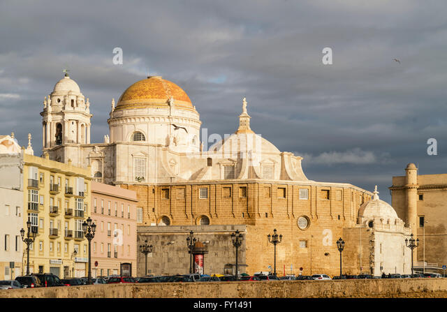 Promenade, cathedral, waterfront buildings, Campo del Sur, La  Andalucia, Spain, - Stock Image