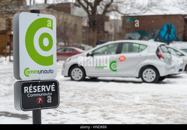 Parked Communauto Auto-mobile car. Communauto provides carsharing services in Quebec - Stock Image