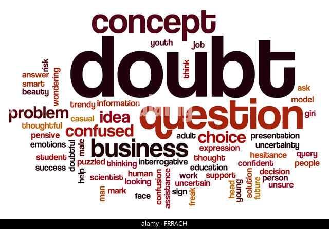 Doubt word cloud concept with question problem related tags - Stock Image