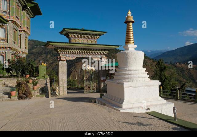 The courtyard of the RKPO Green Resort Hotel, Punakha, Bhutan. - Stock Image