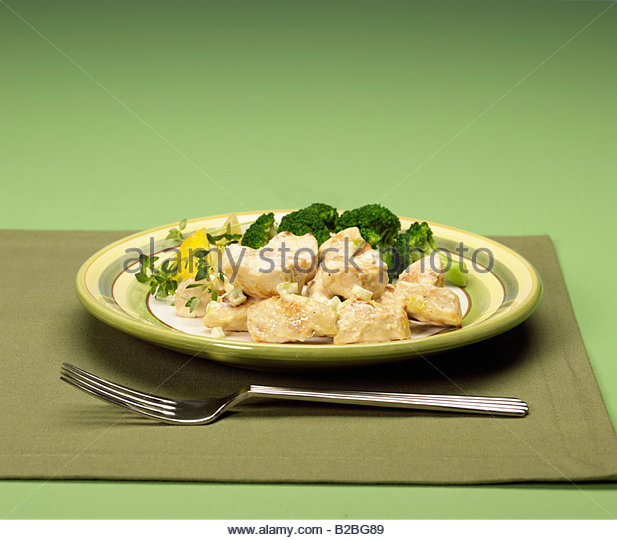 Close up of lemon chicken entree - Stock Image