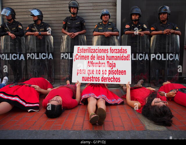 Lima, May 17, Young activist protested again in front of the building of the Prosecutor's Office demanding speed - Stock Image